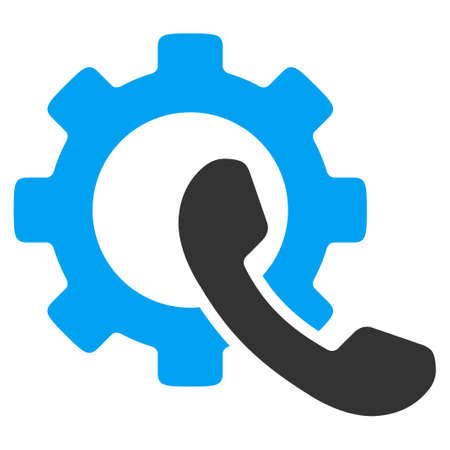 Phone Configuration vector icon. Style is bicolor flat symbol, blue and gray colors, rounded angles, white background.