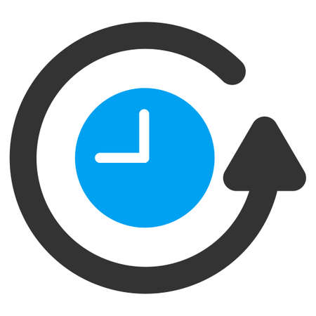 Restore Clock vector icon. Style is bicolor flat symbol, blue and gray colors, rounded angles, white background. Stock Illustratie