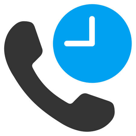 phone time: Phone Time vector icon. Style is bicolor flat symbol, blue and gray colors, rounded angles, white background.