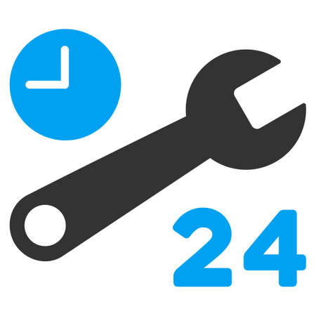 nonstop: Service Hours vector icon. Style is bicolor flat symbol, blue and gray colors, rounded angles, white background. Illustration