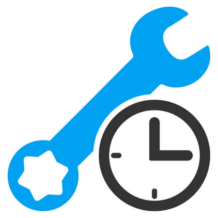 time of the day: Service Time vector icon. Style is bicolor flat symbol, blue and gray colors, rounded angles, white background. Illustration
