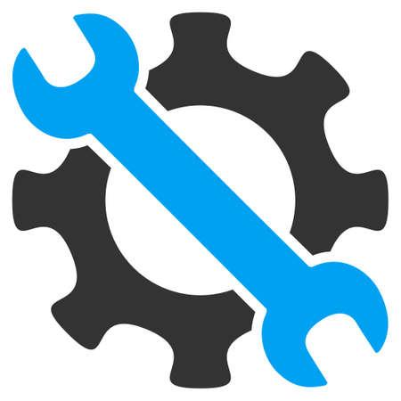 Icona di vettore di strumenti di servizio. Lo stile è simbolo piatto bicolore, colori blu e grigi, angoli arrotondati, sfondo bianco. Vettoriali