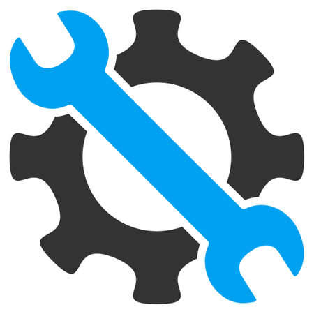 Icono de vector de herramientas de servicio. El estilo es símbolo plano bicolor, colores azul y gris, ángulos redondeados, fondo blanco. Ilustración de vector
