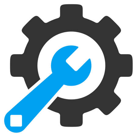 config: Service Tools vector icon. Style is bicolor flat symbol, blue and gray colors, rounded angles, white background.