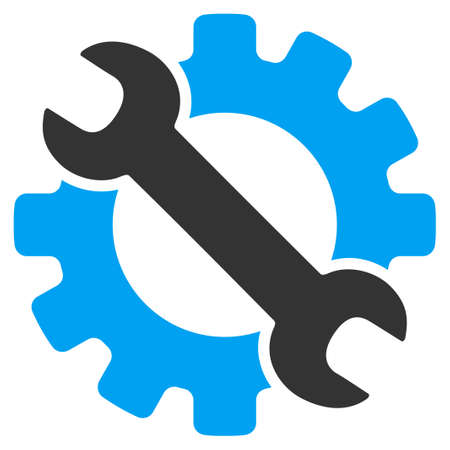 Service Tools vector icon. Style is bicolor flat symbol, blue and gray colors, rounded angles, white background. Imagens - 45865832