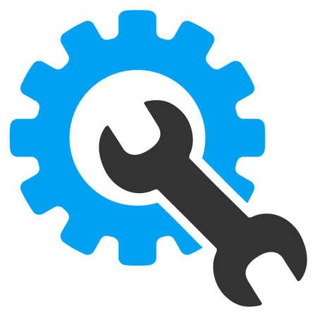 サービス ツールはベクターのアイコンです。スタイルはバイカラー フラット シンボル、青、グレー色、丸みを帯びた角、ホワイト バック グラウン