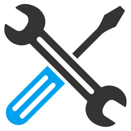 Spanner And Screwdriver vector icon. Style is bicolor flat symbol, blue and gray colors, rounded angles, white background.