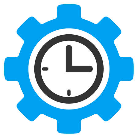 Time Setup vector icon. Style is bicolor flat symbol, blue and gray colors, rounded angles, white background. Illustration