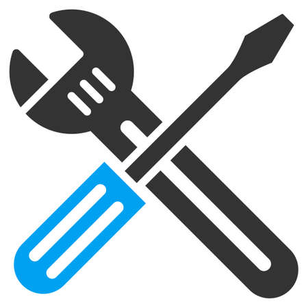 hardware configuration: Spanner And Screwdriver vector icon. Style is bicolor flat symbol, blue and gray colors, rounded angles, white background.