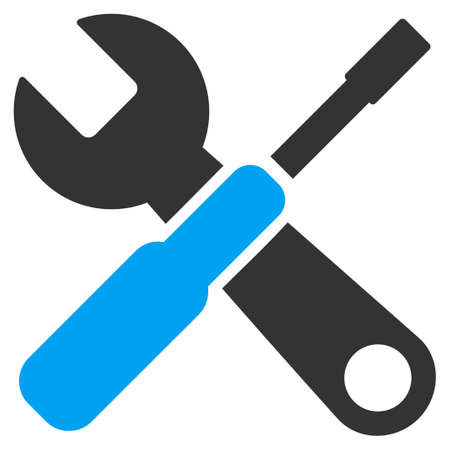 control tools: Tools vector icon. Style is bicolor flat symbol, blue and gray colors, rounded angles, white background.