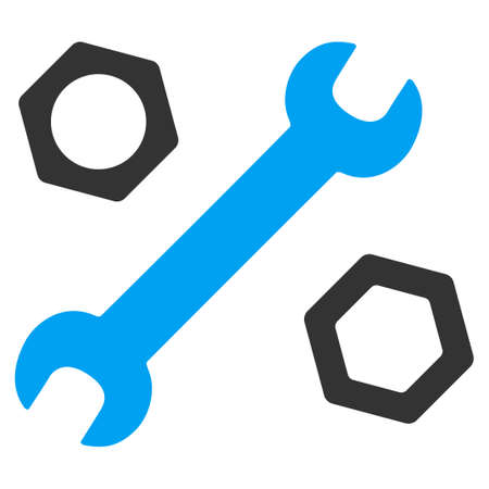 hardware configuration: Wrench And Nuts vector icon. Style is bicolor flat symbol, blue and gray colors, rounded angles, white background.