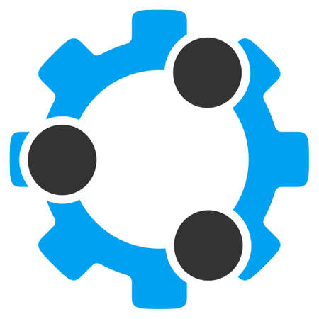 Teamwork vector icon. Style is bicolor flat symbol, blue and gray colors, rounded angles, white background.