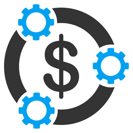 business gears: Teamwork vector icon. Style is bicolor flat symbol, blue and gray colors, rounded angles, white background.