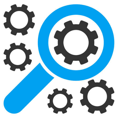 gear box: Search Tools vector icon. Style is bicolor flat symbol, blue and gray colors, rounded angles, white background. Illustration