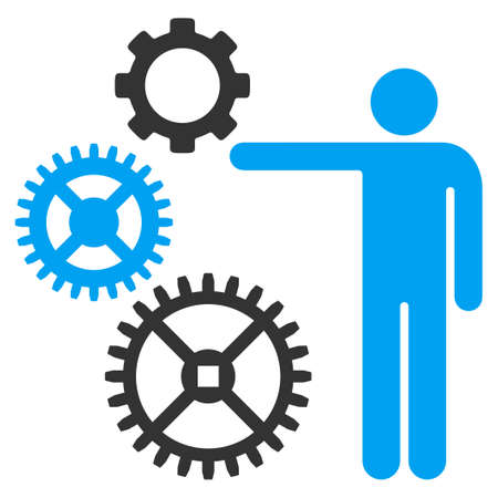 Mechanics Presentation vector icon. Style is bicolor flat symbol, blue and gray colors, rounded angles, white background. Illusztráció