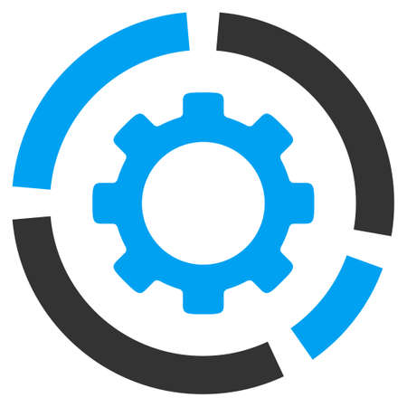 config: Industry Diagram vector icon. Style is bicolor flat symbol, blue and gray colors, rounded angles, white background.