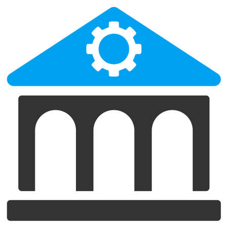 corporations: Factory vector icon. Style is bicolor flat symbol, blue and gray colors, rounded angles, white background.
