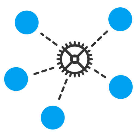 Gear Links vector icon. Style is bicolor flat symbol, blue and gray colors, rounded angles, white background.