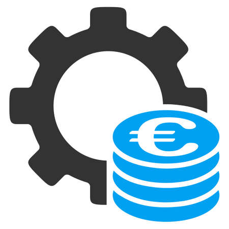 Euro Development vector icon. Style is bicolor flat symbol, blue and gray colors, rounded angles, white background. Vettoriali