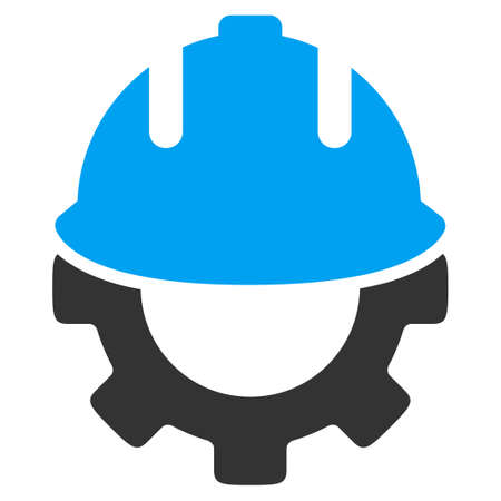 career development: Development glyph icon. Style is bicolor flat symbol, blue and gray colors, rounded angles, white background.