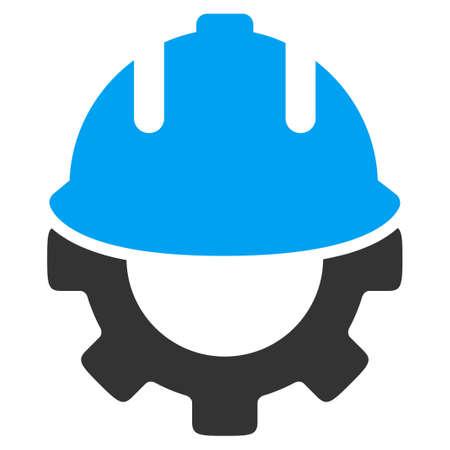 albañil: icono glifo desarrollo. El estilo es el símbolo plana bicolor, colores azul y gris, ángulos redondeados, fondo blanco. Foto de archivo
