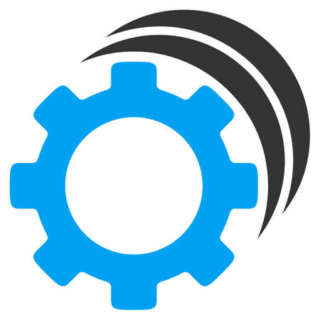 config: Gears glyph icon. Style is bicolor flat symbol, blue and gray colors, rounded angles, white background.