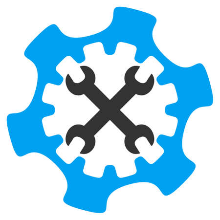 config: Service Tools glyph icon. Style is bicolor flat symbol, blue and gray colors, rounded angles, white background. Archivio Fotografico