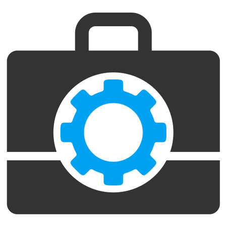 power icon: Toolbox glyph icon. Style is bicolor flat symbol, blue and gray colors, rounded angles, white background.