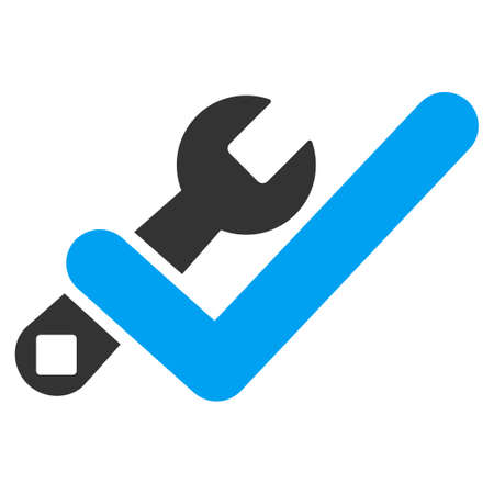 valid: Valid Tools glyph icon. Style is bicolor flat symbol, blue and gray colors, rounded angles, white background. Stock Photo