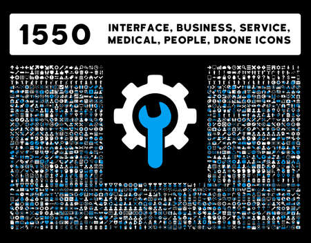 new account: Web interface, business tools, hardware devices, people poses, medical service and awards vector icons. Style is bicolor flat symbols, blue and white colors, rounded angles, black background.