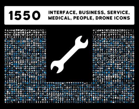 Interface Web, outils d'affaires, des dispositifs matériels, les gens pose, service médical et bourses icônes vectorielles. Le style est bicolor symboles plats, les couleurs bleu et blanc, angles arrondis, fond noir. Banque d'images - 46342947