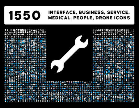 Web interface, business tools, hardware devices, people poses, medical service and awards vector icons. Style is bicolor flat symbols, blue and white colors, rounded angles, black background.