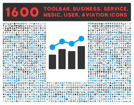 health care analytics: Analytics raster icon and 1600 other business, service tools, medical care, software toolbar, web interface pictograms. Style is bicolor flat symbols, blue and gray colors, rounded angles, white background. Stock Photo
