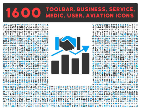 toolbar: Acquisition Graph raster icon and 1600 other business, service tools, medical care, software toolbar, web interface pictograms. Style is bicolor flat symbols, blue and gray colors, rounded angles, white background.