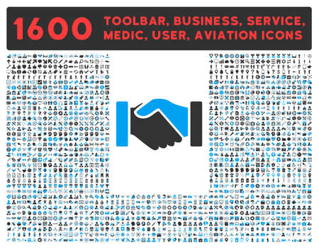 toolbar: Acquisition vector icon and 1600 other business, service tools, medical care, software toolbar, web interface pictograms. Style is bicolor flat symbols, blue and gray colors, rounded angles, white background.