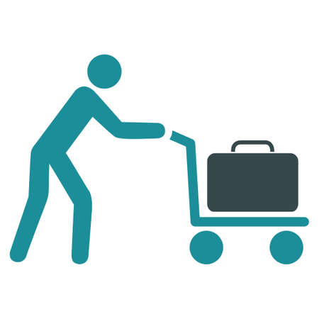 trolley case: Passenger Trolley vector icon. Style is flat bicolor soft blue symbol, rounded angles, white background.