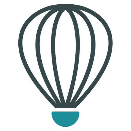 air baloon: Aerostat vector icon. Style is flat bicolor soft blue symbol, rounded angles, white background. Illustration