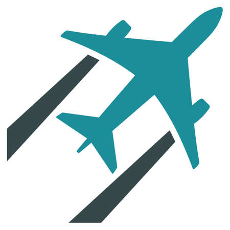 aero: Air Jet Trace vector icon. Style is flat bicolor soft blue symbol, rounded angles, white background.