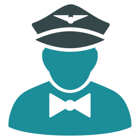 steward: Airline Steward vector icon. Style is flat bicolor soft blue symbol, rounded angles, white background. Illustration