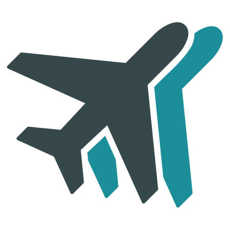 airlines: Airlines vector icon. Style is flat bicolor soft blue symbol, rounded angles, white background.