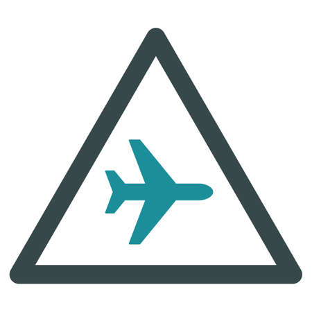trip hazard: Airplane Danger vector icon. Style is flat bicolor soft blue symbol, rounded angles, white background. Illustration