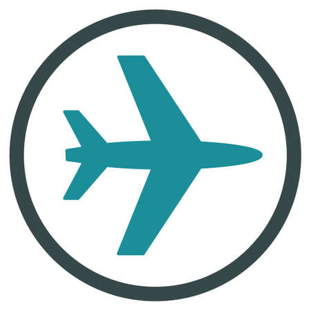 usaf: Airport vector icon. Style is flat bicolor soft blue symbol, rounded angles, white background.