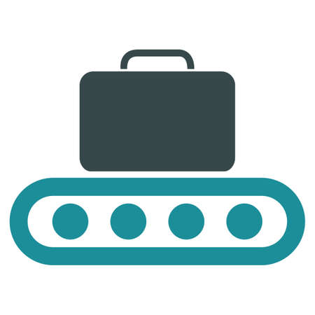 rollers: Baggage Conveyor vector icon. Style is flat bicolor soft blue symbol, rounded angles, white background.