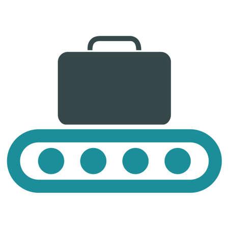 fliesband: Gep�ckband Vektor-Symbol. Stil ist flach bicolor weichen blauen Symbol, abgerundete Winkel, wei�en Hintergrund.