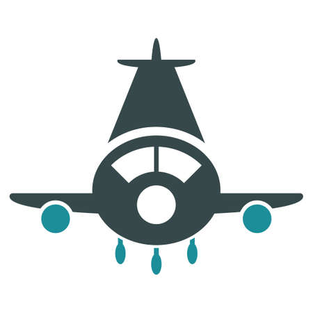 airflight: Cargo Plane vector icon. Style is flat bicolor soft blue symbol, rounded angles, white background.