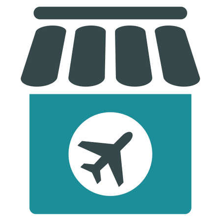 duty free: Duty Free vector icon. Style is flat bicolor soft blue symbol, rounded angles, white background.