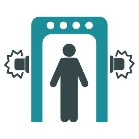 screening: Passenger Screening vector icon. Style is flat bicolor soft blue symbol, rounded angles, white background.