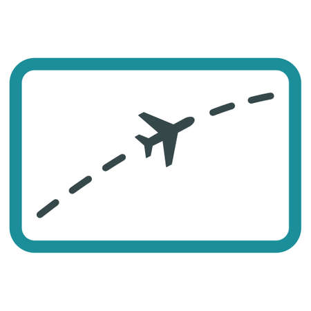 Plane Route vector icon. Style is flat bicolor soft blue symbol, rounded angles, white background.