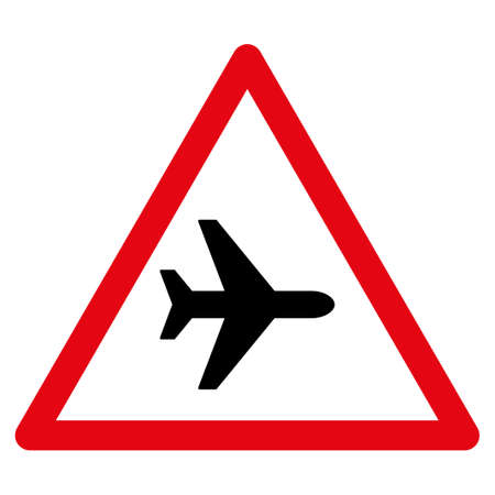 airflight: Airplane Warning vector icon. Style is flat symbol, rounded angles, white background. Illustration