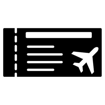 credentials: Airticket vector icon. Style is flat symbol, rounded angles, white background.